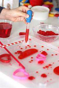 valentines and water science density experiment