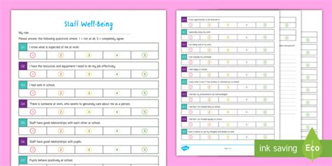 * New * Staff Wellbeing Questionnaire Checklist  Mental Health