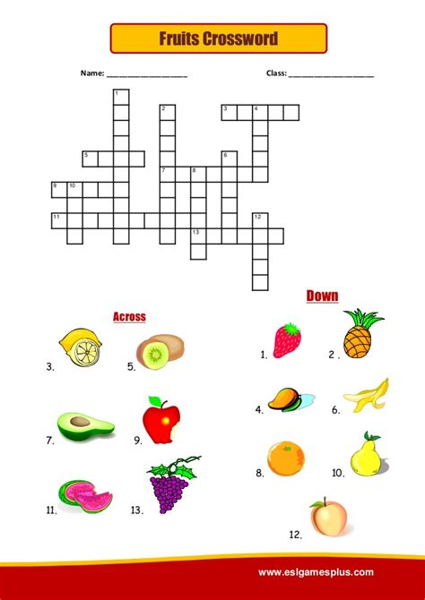 crossword fruits slideshare class