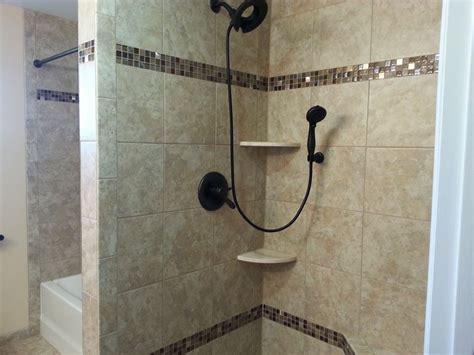 granite  marble shelves   custom tiled shower