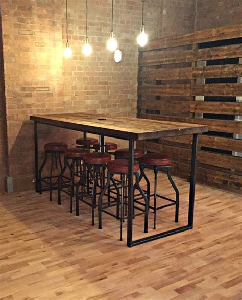 reclaimed industrial  seater chic tall poseur dining