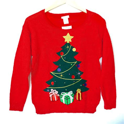 led light up tree tacky sweater