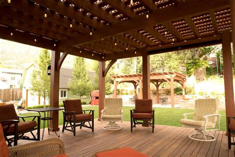 backyard deck pergola lattice fullwrap cantilever roof
