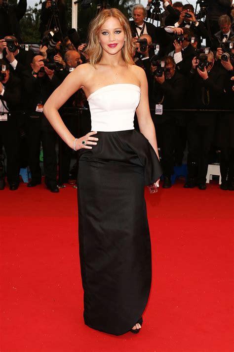 Jennifer Lawrence White And Black Formal Dress Cannes Film