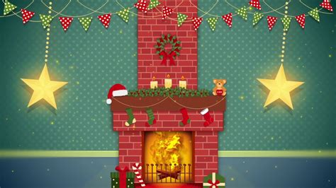 Cartoon Christmas Fireplace Video For Children