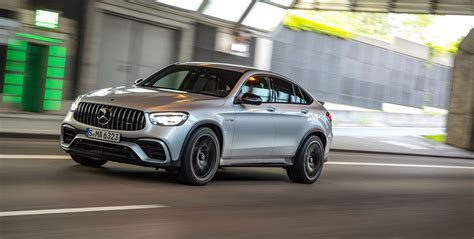 Check glc specs & features, 2 variants, 6 colours, images and read 21 57.36 lakh to 63.13 lakh in india. 2020 Mercedes-AMG GLC63 S coupe — Twin-Turbo V-8 Fastback SUV