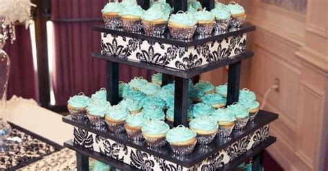 Turquoise Cupcake Stand With Black And White Details