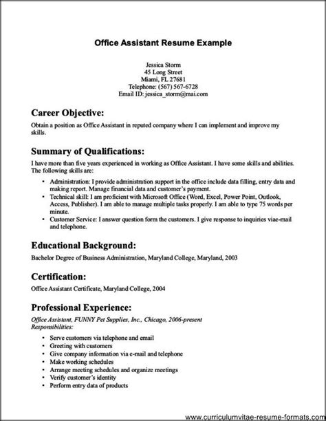 Office Assistant Resume Exles by Office Assistant Resume Sle Free Sles Exles