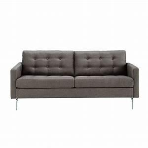 Canape 2 3 places en tissu gris victor maisons du monde for Tapis exterieur avec canapé moelleux assise profonde