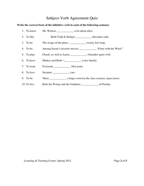 subject verb agreement quiz template