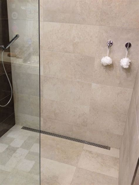 functional simple design curbless 12x24 tile shower