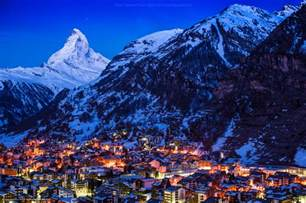 Switzerland Matterhorn Mountain at Night