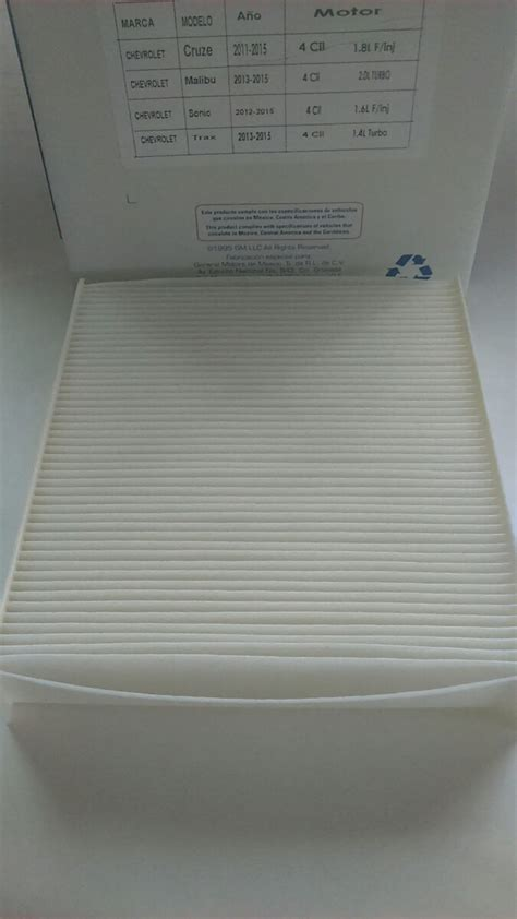 filtro aire acondicionadopolen trax sonic cruze spark