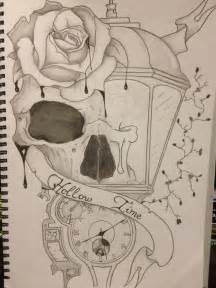 Skull Clock and Flowers Drawing