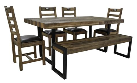flea market dining table  chairs bench  natural