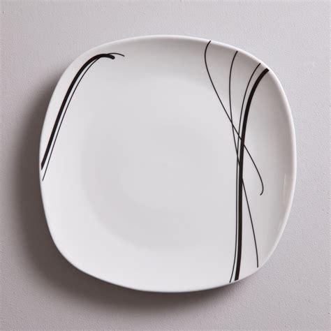 table cuisine pas chere service de table carré 30 pièces en porcelaine zigzag noir