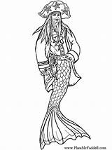 Pirate Coloring Merman Pages Adult Colouring Mermaid Mermaids Printable Template Halloween Sheets Cavallo Baleen Crafts Icolor Pheemcfaddell sketch template