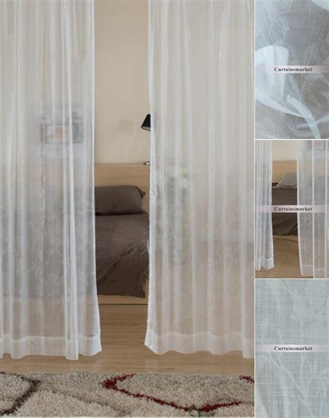 floral sheer curtains of white in light and soft design