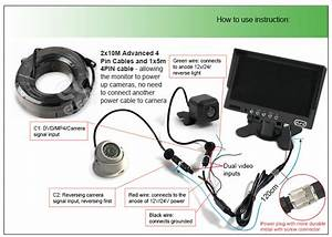 Caravan Two Camera 4pin System Trailer Cable 7 U0026quot  Monitor Hd