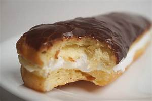 Cream-Filled Chocolate Doughnuts Recipe — Dishmaps