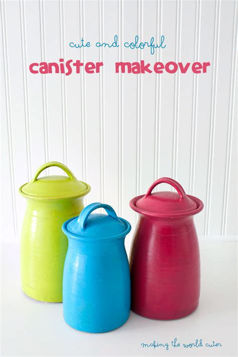 colorful kitchen canisters bright and colorful canister makeover 2341