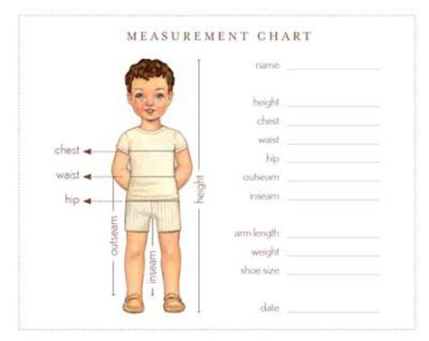 measurement chart  sewing patterns oliver