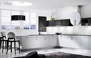 descent black and white kitchen design stylehomesnet With kitchen design in black and white