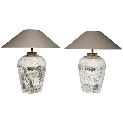 chinese l shades home lighting large rustic chinese jar ls with shades pair for sale
