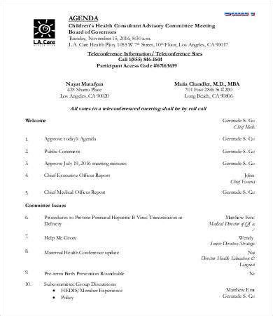 committee agenda template   word  documents