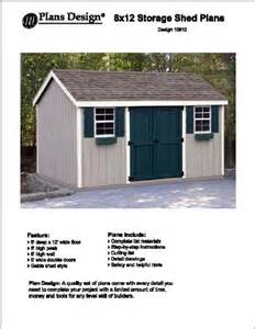 8 x 12 gable storage shed project plans design 10812 ebay