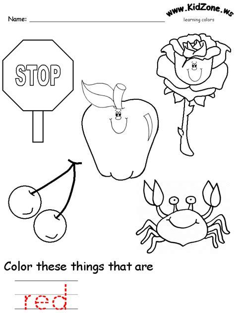 colors recognition practice worksheet tot school