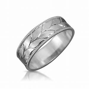 leaves wedding band mens wedding ring white gold wedding With mens wedding rings engraved