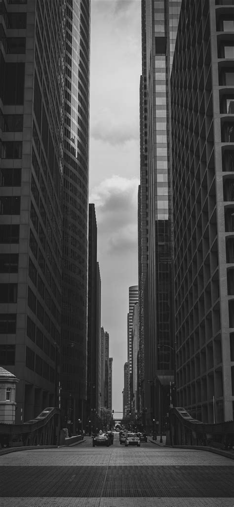 Ville, gratte-ciel, route, noir et blanc iPhone XS Max, X