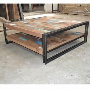 Table Basse Industrielle Carrée : table basse bois fer table haute maisonjoffrois ~ Teatrodelosmanantiales.com Idées de Décoration