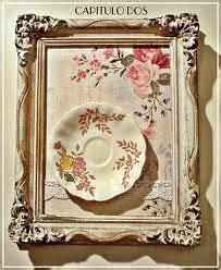 cuadro tris rose shabby cuadro con plato de porcelana para comedor o cocina shabby chic y vintage ideas para hacer