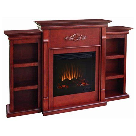 White Electric Fireplace With Bookcase by Southern Enterprises Tennyson Mahogany Electric Fireplace