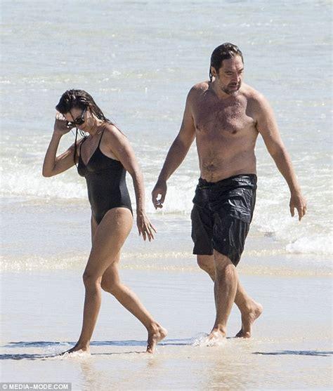 penelope cruz swimsuit penelope cruz displays her cleavage in low cut swimsuit as
