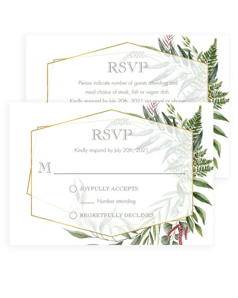 Vintage Rsvp Cards for Wedding Invitation Greenery