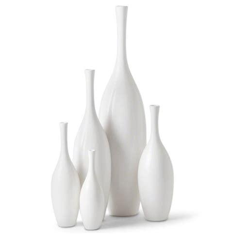 Bliss Modern Tulip Set Of White Ceramic Vases  Set Of 5