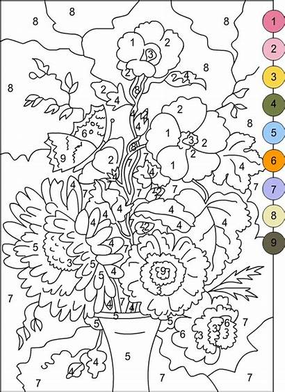 Number Coloring Printable Pages Numbers Adults Paint