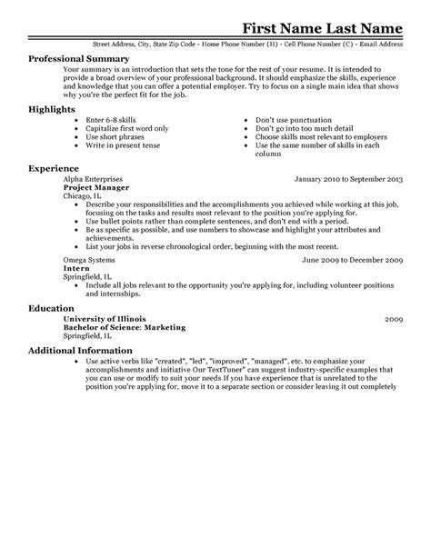Template For Resume Free Professional Resume Templates Livecareer