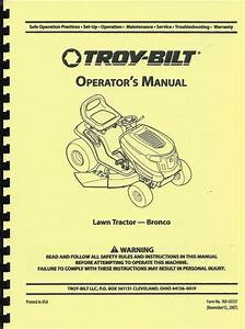 Troy Bilt Bronco Lawn Tractor Owner U0026 39 S Manual