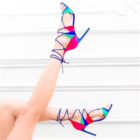 multi color strappy heels multi color strappy sandals suede lace up stiletto heels
