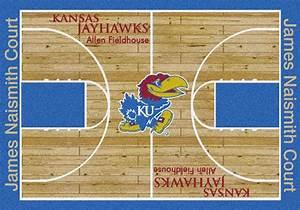 KU Jayhawks Basketball Home Court Nylon Area Rug
