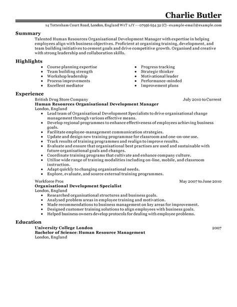 best organizational development resume exle livecareer