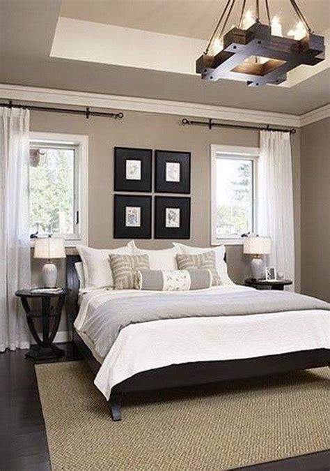 clean  simple white gray  beige master bedroom