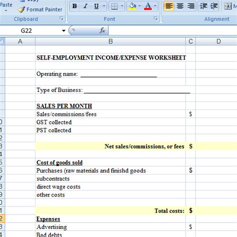 self employment income worksheet worksheets releaseboard