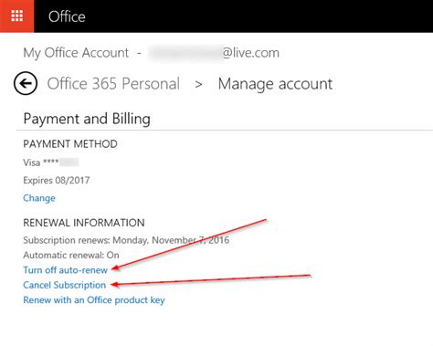 how to turn office 365 auto renewal or cancel subscription