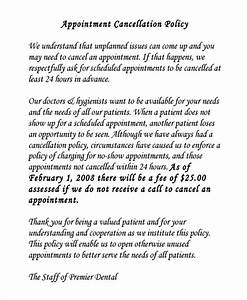 9 cancellation policy templates sample templates for Dental office cancellation policy letter