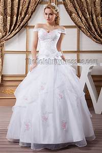 Gorgeous ball gown off the shoulder embroidered wedding for Embroidered wedding dress